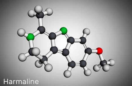 Harmaline molecule. It is fluorescent indole alkaloid. Molecular model. 3D rendering. 3D illustration