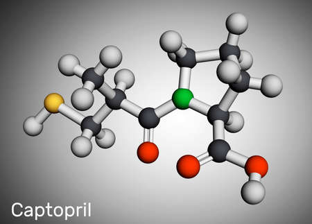 Captopril molecule. It is angiotensin-converting enzyme inhibitor, ACE inhibitor, used in the treatment of hypertension, high blood pressure. Molecular model. 3D rendering. 3D illustration