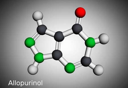 Allopurinol molecule. Drug is xanthine oxidase inhibitor, used to decrease high blood uric acid levels. Molecular model. 3D rendering. 3D illustration