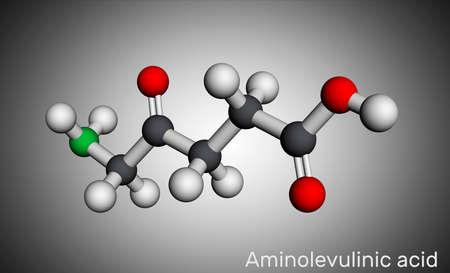 Aminolevulinic acid, δ-Aminolevulinic acid, dALA, δ-ALA, 5ALA molecule. It is an endogenous non-proteinogenic amino acid. Molecular model. 3D rendering. 3D illustration Banque d'images