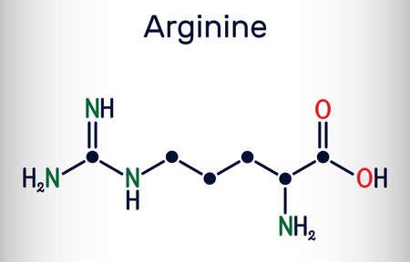 Arginine, L-arginine, Arg, R essential amino acid molecule, it is used in the biosynthesis of proteins. Skeletal chemical formula. Vector illustration Illustration