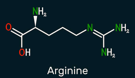 Arginine, Arg, L-arginine, R essential amino acid molecule, it is used in the biosynthesis of proteins. Skeletal chemical formula on the dark blue background. Illustration
