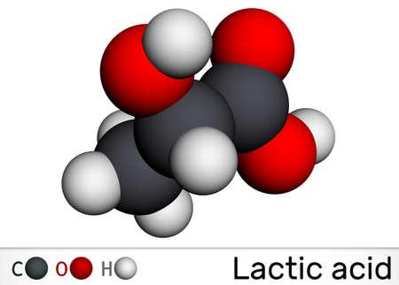 Lactic acid, lactate, milk sugar, C3H6O3 molecule. It is food additive E270 and alpha-hydroxy acid AHA. Molecular model. 3D rendering. 3D illustration