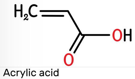 Acrylic acid, propenoic acid molecule. It is unsaturated monocarboxylic acid. Skeletal chemical formula. Iillustration
