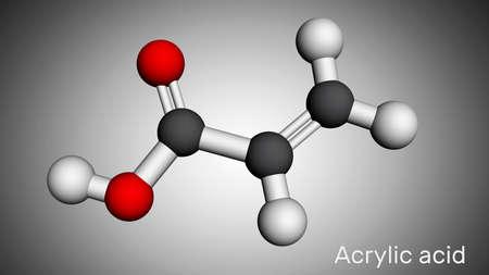 Acrylic acid, propenoic acid molecule. It is unsaturated monocarboxylic acid. Molecular model. 3D rendering. 3D illustration