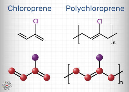 Chloroprene and polychloroprene molecule. Monomer and polymer. Neoprene, synthetic rubber obtained by polymerization of chloroprene. Structural chemical formula, molecule model. Vector illustration