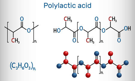 Polylactic acid, polylactide, PLA molecule. It is polymer, bioplastic, thermoplastic polyester. Structural chemical formula and molecule model. Vector illustration