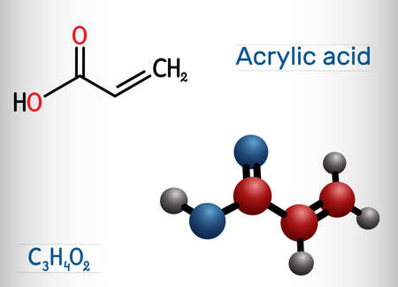 Acrylic acid, propenoic acid molecule. It is unsaturated monocarboxylic acid. Structural chemical formula and molecule model. Vector illustration