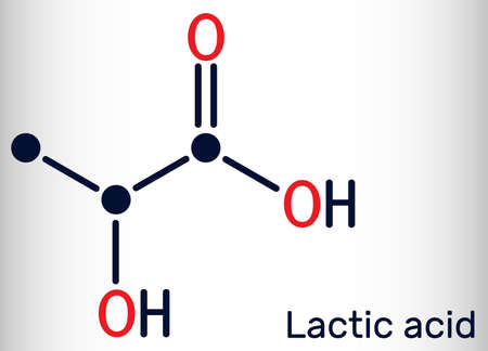 Lactic acid, lactate, milk sugar, C3H6O3 molecule. It is food additive E270 and alpha-hydroxy acid AHA. Skeletal chemical formula. Vector illustration Illustration