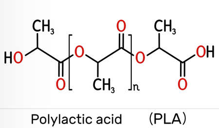 Polylactic acid, polylactide, PLA molecule. It is polymer, bioplastic, thermoplastic polyester. Skeletal chemical formula. Illustration Banque d'images