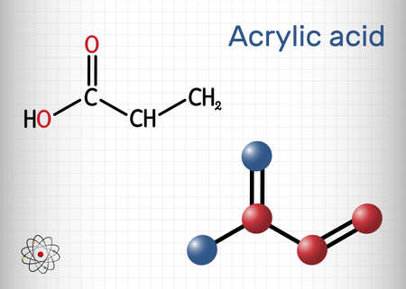 Acrylic acid, propenoic acid molecule. It is unsaturated monocarboxylic acid. Structural chemical formula and molecule model. Sheet of paper in a cage. Vector illustration