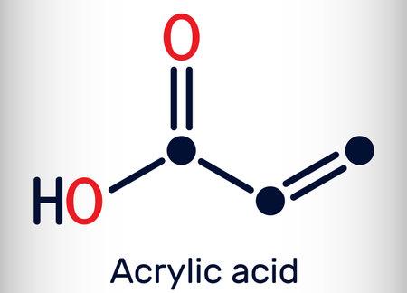 Acrylic acid, propenoic acid molecule. It is unsaturated monocarboxylic acid. Skeletal chemical formula. Vector illustration