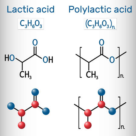Lactic acid (E270) and polylactic acid molecule. Monomer and polymer, polylactide, PLA, bioplastic, thermoplastic polyester. Structural chemical formula and molecule model. Vector illustration