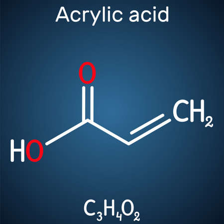Acrylic acid, propenoic acid molecule. It is unsaturated monocarboxylic acid. Structural chemical formula on the dark blue background. Vector illustration