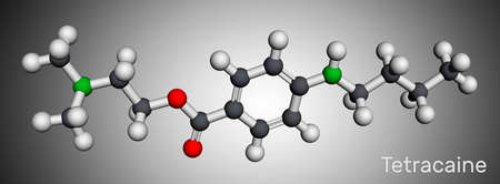 Tetracaine, amethocaine molecule. It is benzoate ester with anesthetic properties. Molecular model. 3D rendering. 3D illustration Banque d'images