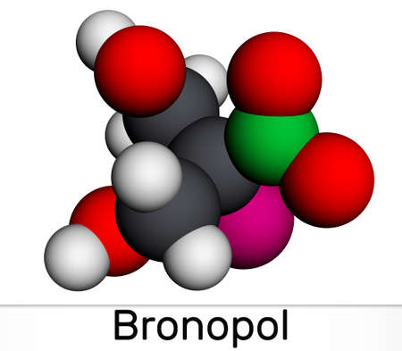 Bronopol molecule. It is preservative, is used as a microbicide or microbiostat. Molecular model. 3D rendering. 3D illustration