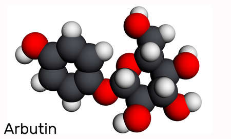 Arbutin, ursin, arbutoside molecule. It is glycoside, is found in foods, over-the-counter drugs, and herbal dietary supplements. Molecular model. 3D rendering. 3D illustration
