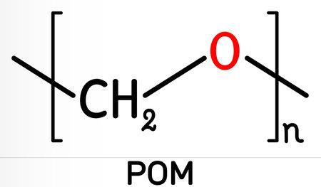 Polyoxymethylene, POM, acetal, polyacetal, polyformaldehyde molecule. It is synthetic polymer, engineering thermoplastic. Skeletal chemical formula. Illustration