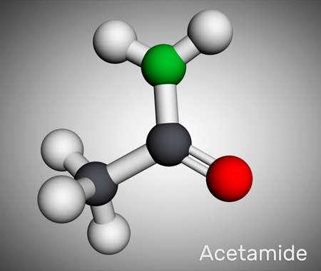 Acetamide, ethanamide molecule. It is a monocarboxylic acid amide. Molecular model. 3D rendering. 3D illustration