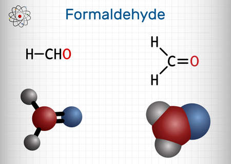Formaldehyde, methanol, methylene oxide, methylaldehyde, oxomethane molecule. It is simplest of aldehydes, aqueous solution is formalin. Sheet of paper in a cage. Vector illustration