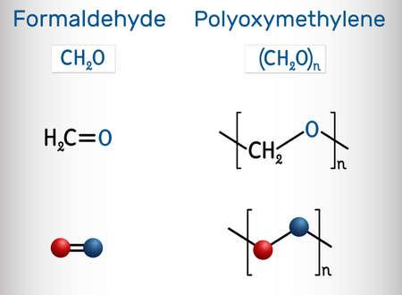 Formaldehyde (methanol, methylene oxide, methylaldehyde, oxomethane, formalin) and polyoxymethylene (POM, acetal, polyacetal, polyformaldehyde) molecule. Monomer and polymer. Vector illustration Ilustração