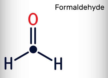 Formaldehyde, methanol, methylene oxide, methylaldehyde, oxomethane molecule. Skeletal chemical formula. Vector illustration Ilustração