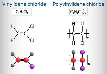 1,1-Dichloroethene (vinylidene chloride, DCE) and Polyvinylidene chloride (polyvinylidene dichloride, PVDC) molecule. Polyvinylidene chloride is homopolymer of vinylidene chloride. Vector illustration Ilustração