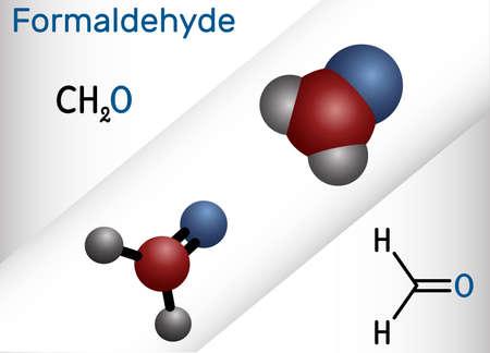 Formaldehyde, methanol, methylene oxide, methylaldehyde, oxomethane molecule. It is simplest of aldehydes, aqueous solution is formalin. Structural chemical formula, molecule model. Vector illustration