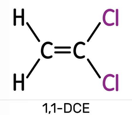 1,1-Dichloroethene, vinylidene chloride, DCE molecule. It is used in the production of polyvinylidene chloride copolymers (PVDC). Skeletal chemical formula. Illustration