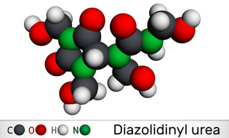 Diazolidinyl urea molecule. It is antimicrobial preservative. Is used in many cosmetics. Molecular model. 3D rendering. 3D illustration
