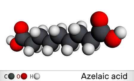 Azelaic acid, AzA, nonanedioic acid molecule. It is saturated dicarboxylic acid, is effective against a number of skin conditions, acne. Molecular model. 3D rendering. 3D illustration Banque d'images