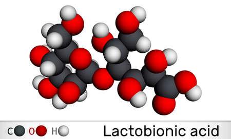 Lactobionic acid, lactobionate molecule. It is a disaccharide, sugar acid, food additive E399. Molecular model. 3D rendering. 3D illustration Banque d'images