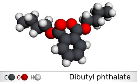 Dibutyl phthalate, DBP molecule. It is phthalate ester, diester. It is environmental contaminant, teratogenic agent, plasticiser. Molecular model. 3D rendering. 3D illustration