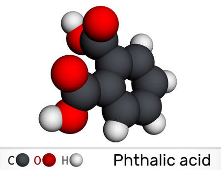 Phthalic acid, benzenedicarboxylic acid molecule. It is aromatic dicarboxylic acid. Molecular model. 3D rendering. 3D illustration
