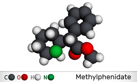 Methylphenidate, MP, MPH molecule. It is central nervous system stimulant. Used in treatment of Attention-Deficit Hyperactivity Disorder, ADHD. Molecular model. 3D rendering. 3D illustration