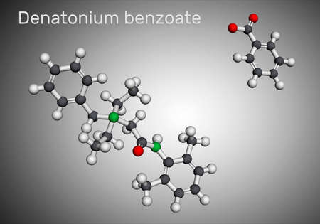 Denatonium benzoate molecule. It has the most bitter taste of any compound known to science. Molecular model. 3D rendering. 3D illustration Banque d'images
