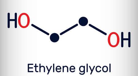 Ethylene glycol, diol molecule. It is used for manufacture of polyester fibers and for antifreeze formulations. Skeletal chemical formula. Vector illustration Illustration