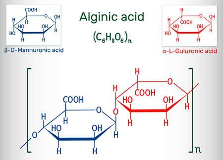 Alginic acid, align, alginate molecule. It is polysaccharide, food additive E401. Structural chemical formula. Vector illustration Illustration