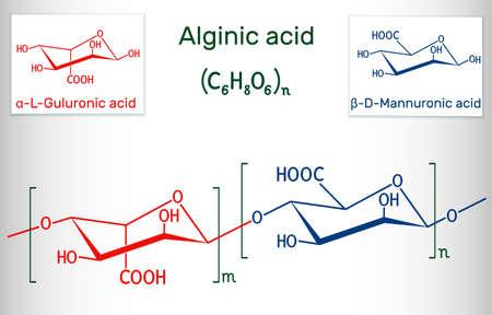 Alginic acid, align, alginate molecule. It is polysaccharide, food additive E401. Structural chemical formula. Vector illustration