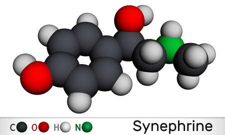 Synephrine, p-synephrine molecule. It is phenethylamine alkaloid. Molecular model. 3D rendering. Illustration Banque d'images