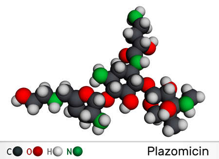 Plazomicin, molecule. It is aminoglycoside antibiotic used for urinary tract infections or pyelonephritis. Molecular model. 3D rendering. 3D illustration Banque d'images