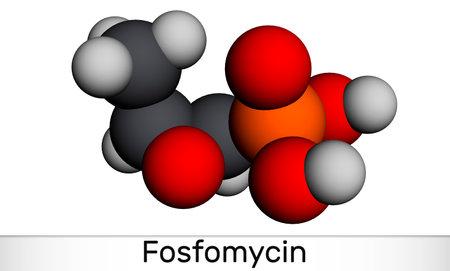 Fosfomycin, phosphomycin, phosphonomycin molecule. It is synthetic antibiotic with antimicrobial, bactericidal properties. Molecular model. 3D rendering. 3D illustration Banque d'images