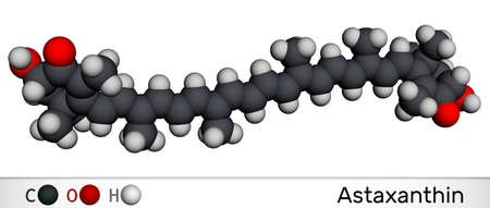 Astaxanthin is a keto-carotenoid. It belongs to class of chemical terpenes. Molecular model. 3D rendering. 3D illustration
