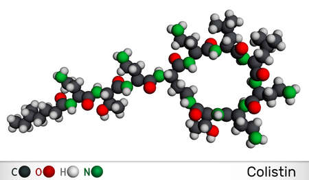 Colistin, polymyxin E molecule. It is cyclic polypeptide antibiotic. Molecular model. 3D rendering. 3D illustration Banque d'images