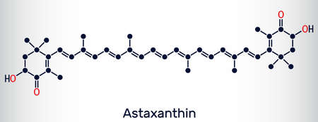 Astaxanthin is a keto-carotenoid. It belongs to class of chemical terpenes. Skeletal chemical formula. Vector illustration Ilustração