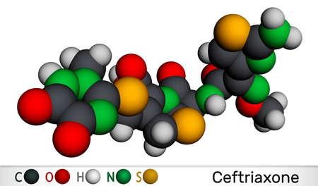 Ceftriaxone molecule. It is broad-spectrum third-generation cephalosporin antibiotic. Molecular model. 3D rendering. 3D illustration