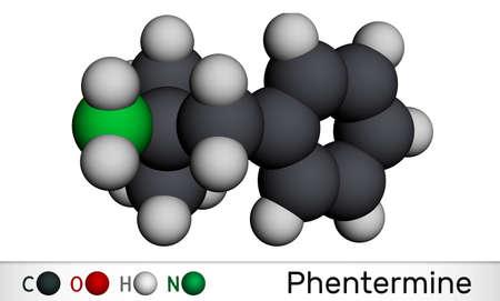 Phentermine, molecule. It is natural monoamine alkaloid derivative, sympathomimetic stimulant with appetite suppressant property. Molecular model. 3D rendering. 3D illustration
