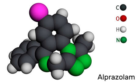 Alprazolam, molecule. It is benzodiazepine, short-acting tranquilizer with anxiolytic, sedative-hypnotic, anticonvulsant activities. Molecular model. 3D rendering. 3D illustration