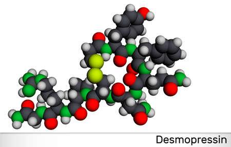 Desmopressin, desmopresina, desmopressinum molecule. It is antidiuretic peptide drug, synthetic analogue of vasopressin. Molecular model. 3D rendering. 3D illustration