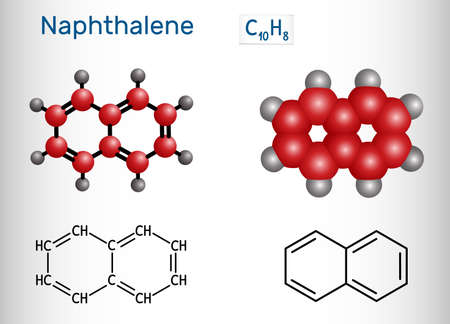 Naphthalene molecule. It is an aromatic hydrocarbon comprising two fused benzene rings. Structural chemical formula and molecule model. Vector illustration Ilustração